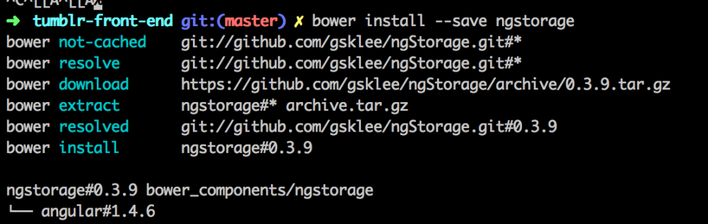 bower install ngstorage